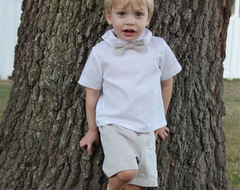 Ring Bearer Outfit - khaki bow tie and shorts - Bow tie and Pants - Boys Wedding outfit - Timeless Wedding  - little boy bow tie