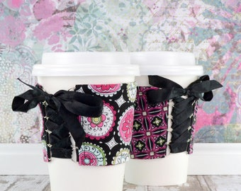 Coffee Cup Cuff // Floral Medallion Kaleidoscope Cup Cozy // reversible // adjustable // reusable // eco-friendly // floral corset cuff cozy