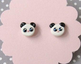 Panda Earrings, Stud Earrings, Kawaii Panda Earrings, Black and White Panda, Cute Earrings, Bear Earrings, Wild Animal, Hypoallergenic Posts