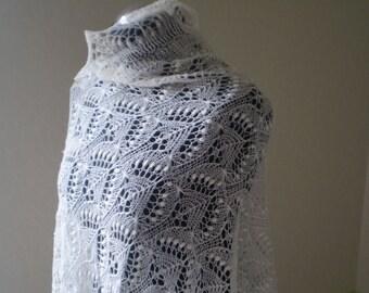 Hand knitted wedding stole, traditional Estonian lace, heirloom, Haapsalu shawl with nupps, soft cobweb merino CUSTOM MADE