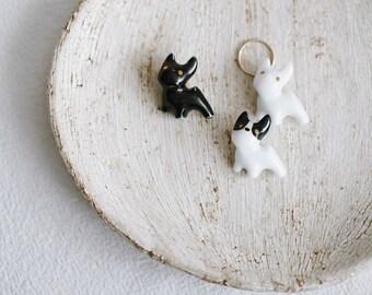Ceramic puppy brooch with ring, Ceramic brooch Porcelain brooch Puppy brooch Animal brooch Pet brooch 14K gold-filled ring - boohua