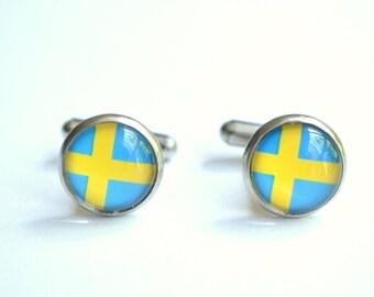 Swedish Flag Sweden Mens Cuff Links Groomsmen Gifts Wedding Gifts