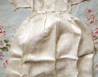 Antique Christening Gown, Victorian, superb quality, hand sewn in delicate satin and lace, ~ perfect condition