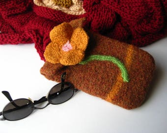Hand Knit, Felted Wool, Cell Phone Cover, Amber Brown with Pansy, IPhone, Galaxy, Universal Phone Case, Handmade Phone Cosy, Made to Order