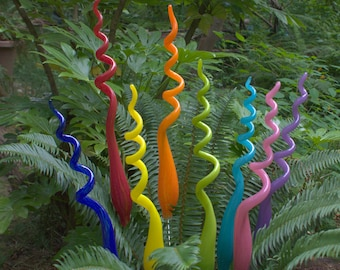 One Hand Blown Glass Garden Art Plant Stake  24 inches tall FREE SHIPPING