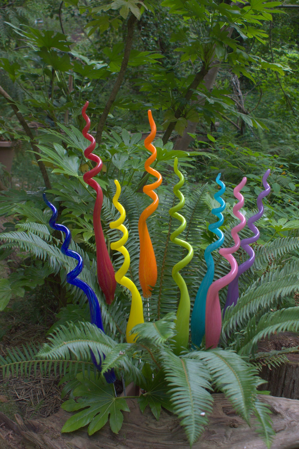 One Hand Blown Glass Garden Art Plant Stake 24 inches tall