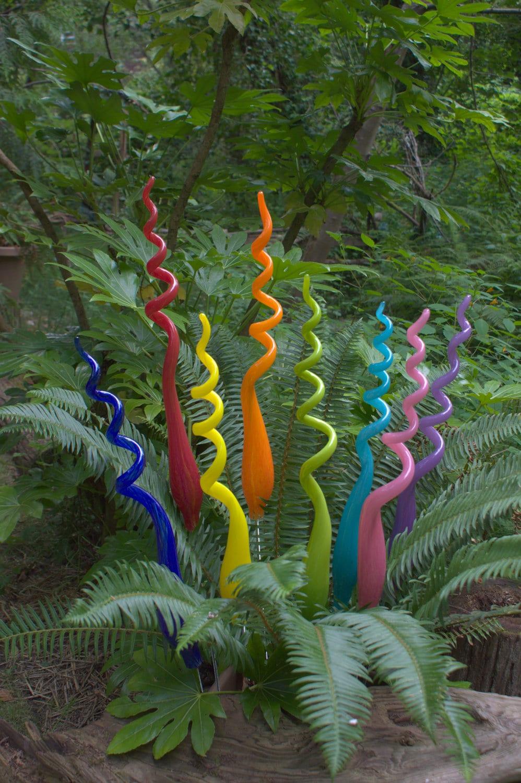 Three Hand Blown Glass Garden Art Plant Stake 24 inches tall
