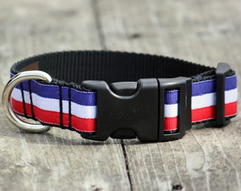 Le Tricolore Grosgrain Adjustable Dog Collar / X-Small, Small, Medium, Large, X-Large / Made in Japan