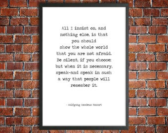 Mozart Hand Typed Printable Quote 'You Are Not Afraid' Monochrome Instant Download Inspirational Poster Courage Quote Self Belief Print