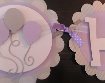 Balloon Happy Birthday OR Name Banner.  Girls birthday banner.  Purple and gray banner