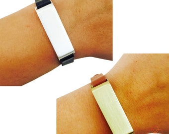 Fitbit Bracelet for FitBit Flex Fitness Activity Trackers - The KATE Single Strap Brushed Metal and Premium Vegan Leather Buckle Bracelet