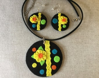 Felt Handmade Necklace and Earrings