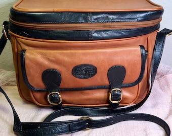 Vintage Cueritos Colombian Genuine Leather Safari Zip Around Camera Front Flap Satchel Two Tone Shoulder Crossbody Bag Colombia