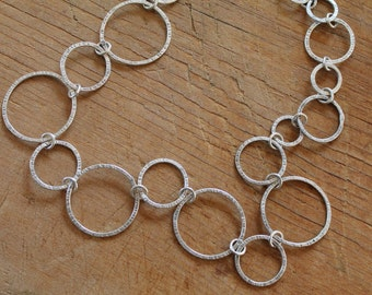 Handcrafted Sterling Silver Necklace - Rings Circles Bubbles - Handmade Jewelry - Heather Sorrell - Geometric - Hammered Textured - Chain