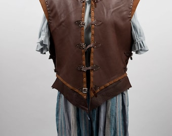 Puerto Diablo leather pirate jacket 17th century doublet waistcoat costume game of thrones cosplay larp warcraft adventurer M L handmade sca