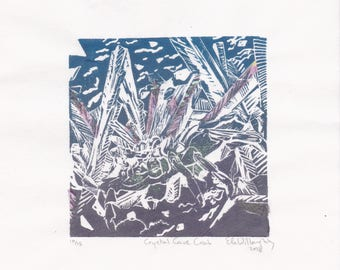 The Crystal Cave Crab Mini Print, a linocut imaginary animal- Imaginary Zoology Linocut Collection, A Crystal Wearing Cave Crab