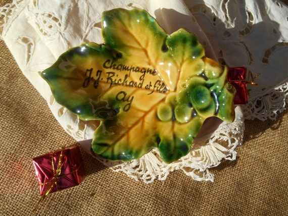 Champagne Leaf Pin Tray Yellow French Pottery from Villenauxe Leaf Dish Handmade Handpainted Stamped #sophieladydeparis