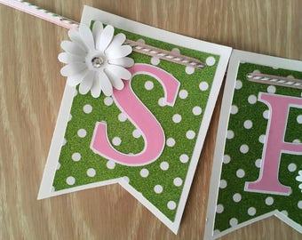 Glitter green Spring Banner