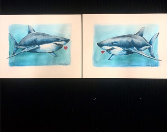 His and hers, his and his, hers and hers, watercolour great white shark  heart paintings 2x 6'x9' on acid free watercoour paper