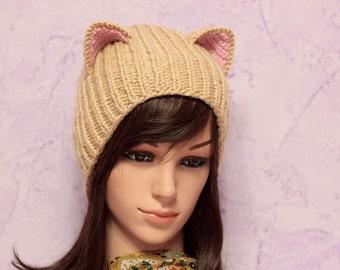 Crochet Cat Ears Hat, Cat Ears Beanie, Beige Cat Beanie, Chunky Cat Hat, Winter Accessories, Holiday Fashion, Winter Hat