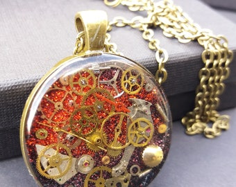 Timeless Red Steampunk Pendant