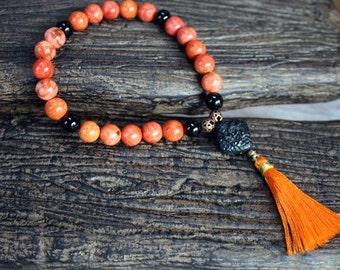27 Beads Yoga Mala Bracelet Red Coral And Cinnabar Dragon Tassel