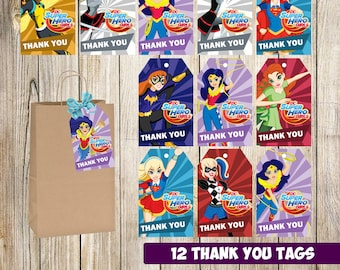 DC Super Hero Girls Thank you tags instant download, Printable DC Super Hero Girls Thank you cards, DC Super Hero Girls gift tags