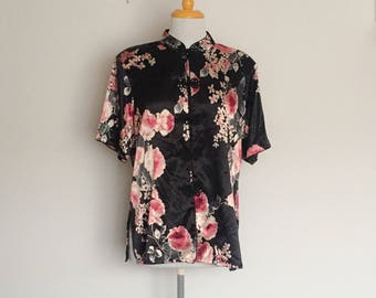 1990s Black and Pink Floral Silky Oriental Blouse Vintage