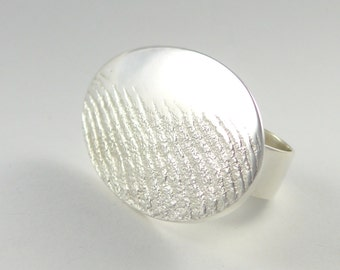 Sea foam on the sea shore, sterling silver ring