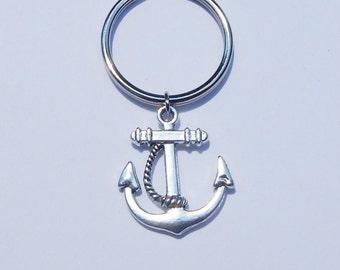 Anchor Keychain, Nautical Keychain, Anchor Key Chain, Best Friend Keychain, Silver Anchor Keychain, Anchor, Ocean Keychain, Party Favors