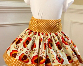 Thanksgiving skirt turkey skirt Fall skirt girls thanksgiving outfit  brown orange turkey gobble gobble skirt  fall outfit toddler