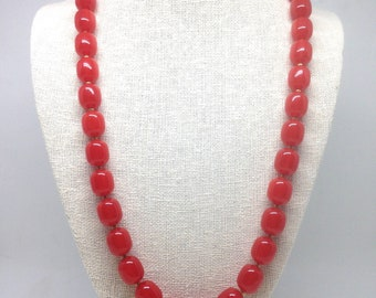 Vintage Estate Marcella Red Beaded Gold Tone Necklace