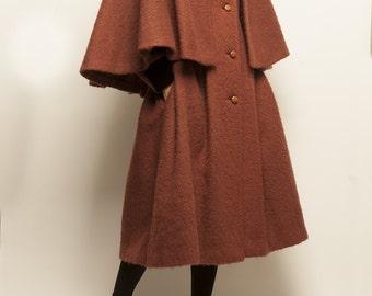 1960's wool coral color mini cape + a-line long coat
