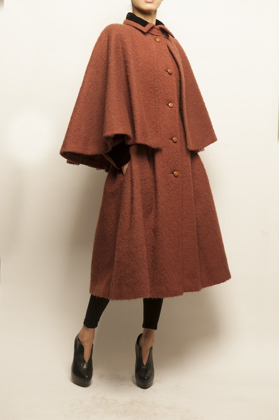 1960's wool coral color mini cape + a-line long coat