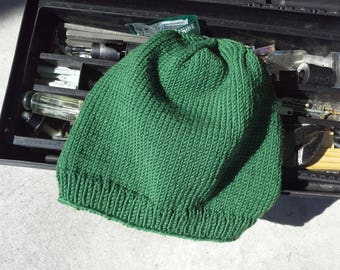 Mens Keystone Hat Mens Merino Beanie Mens Olive Forest Green Wool Skully Hand Knit Sailing Boating (Ready to Ship)