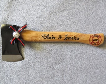 "Personalized Wedding Firefighter Axe With ""Thin Red Line"" Bow"