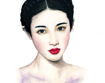 Geisha - watercolour, ink & colouring pencil Fashion Illustration - Giclee Art Print