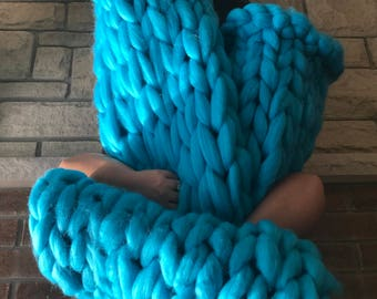 Aqua Blue Chunky Knit Throw