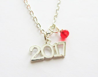 Class of 2017 Necklace, 2017 Charm Necklace, Silver 2017, Pendant, Birthstone, Senior 2017, Graduation Gift, High School Senior Gift