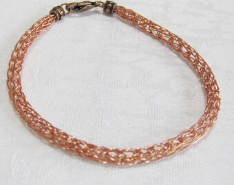 "Copper viking weave bracelet 7 1/2"" long"