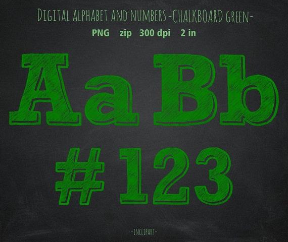 Green Chalk Numbers Letters Symbols Clip Art Chalkboard Alphabet