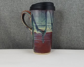 IN STOCK***Pottery Travel Mug / Commuter mug with silicone lid - Stone Blue / Drip