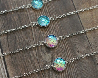 Mermaid Scales Choker, Choker Necklace, Silver Choker, Rainbow Mermaid Scales Choker