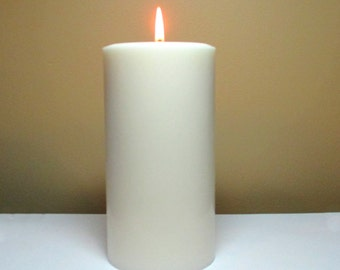 """White Soy Pillar Candle Unscented - Choose 4"""", 6"""", 9"""" Height"""