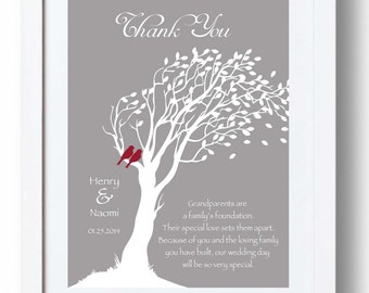 GRANDPARENTS Wedding Gift from Bride & Groom - Thank you Wedding Gift- Custom Grandparent Gift Print - I can make it in wedding colors