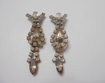 Vintage Clear Rhinestone Dangle Clip Earrings (0146) Large Dangles