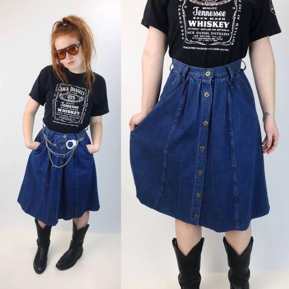 90's Dark Blue Denim High Waist Button Front Aline Skirt Medium - Button Down Jean Midi Skirt With Pockets - 1990's Cotton Basic Preppy