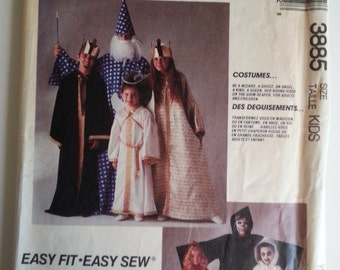 80s / Wizard/ Angel/ king /queen/costume 1988 sewing pattern, Chest 21 22 23 24 25 26 27 28 30, Size 2 3 4 5 6 7 8 9 10 11 12, McCalls 3885