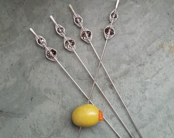 Classy Bloody Mary Spikes, Pint Glass Garnish Picks, Appetizer Skewers, Dessert Skewers, Wire Wrapped Beads, Food Grade Stainless Steel