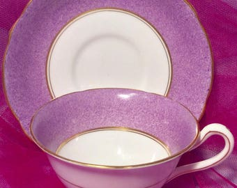 Pretty Pink Addiction-Ye Olde English Grosvenor Mauve and White Teacup and Saucer